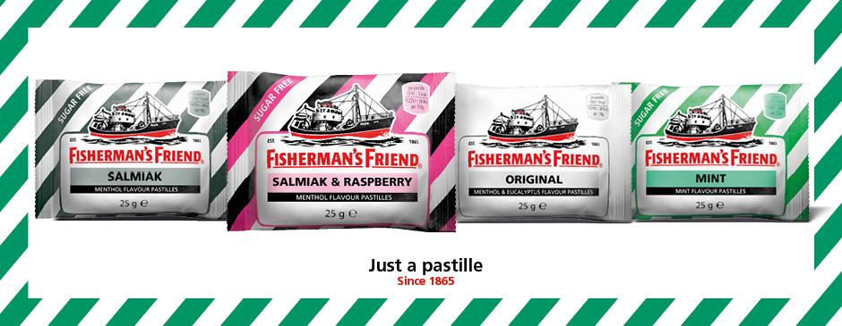 """<p>1865 var byen Fleetwood i Storbritannien kendt for sin store fiskeflåde og sine fiskere som arbejdede i ekstreme barske forhold i Nord Atlanten. Den kolde og fugtige luft forårsagede ofte hoste, halsbetændelse og forkølelser. James Lofthouse, en ung apoteker i byen, udviklede en stærk væske med mentol ogeucalyptus som lindrede de hårdt arbejdende fiskeres hals. Glasflasker var dog upraktiske til havs så Lofthouse tog udviklede et alternativ i form af pressede pastiller. Halspastillerne blev hurtigt så populære blandt fiskerne at de ikke ville sejle ud uden deres""""venner"""" som de kaldte pastillerne – navnetFisherman´s Friend var født.</p>"""