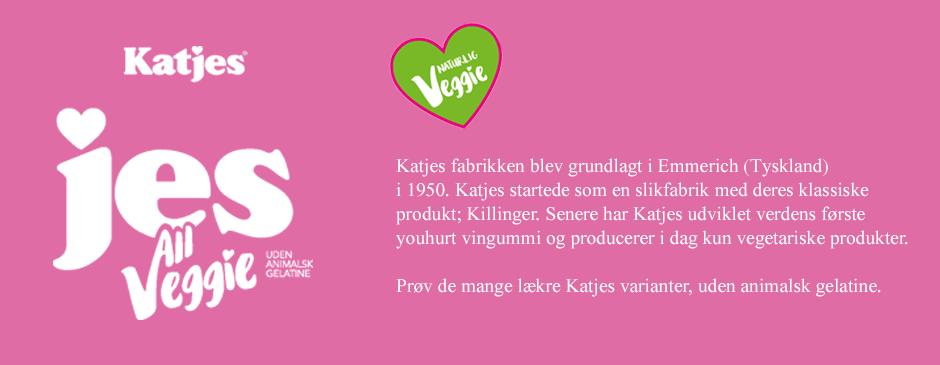 <p>Sammen med den gode smag er den gastronomiske innovation i højsædet hos Katjes, hvor de siden 1970'erne har været på markedet med en lang række nye tiltag indenfor slik og søde sager. Katjes var i 1973 først med at lave slik med frugtjuice &#8211; derefter fortsatte de pionervejen, og i 1987 var de først med naturlige farver og sidenhen i 2007 blev Katjes symbolet for naturlige smagsstoffer! Siden 2012 har Katjes omlagt en del af deres produktion til at være helt uden animalsk gelatine, illustreret på poserne med label.</p> <p>Katjes veggie sortiment er lavet uden animalsk gelatine og Katjes sortimentet er velsmagende, vegetarisk og helt uden kunstige smags- og farvestoffer. Så du kan nyde den gode smag af god slik helt uden dårlig samvittighed&#8230;</p>